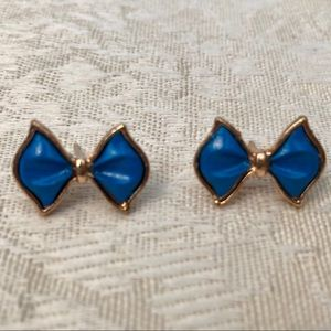 Jewelry - NWT Simple Blue Bowknot Bow Gold & Blue Earrings